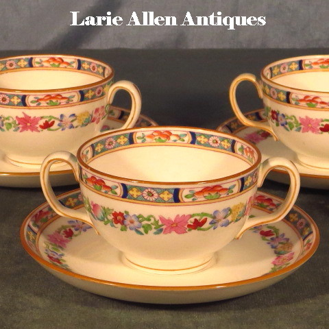 Set 4 Minton Bouillon Cups and Saucers