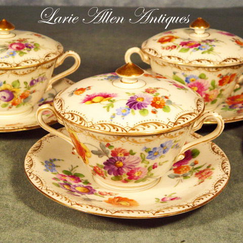 Richard Klemm Dresden Porcelain Bouillon Cups & Saucers with Lids  Set of 4