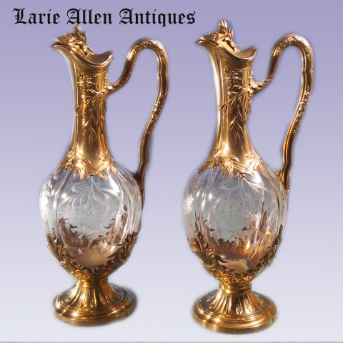 Pair French Sterling Vermeil and Crystal Claret Jugs Wine Decanters Edmond Tetard