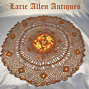 French Metallic Lace Doily with Embroidery