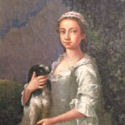 Beautiful Young Woman and Spaniel 19th Century Oil on Board Signed