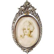 RESERVED  Antique French Jeweled Sterling Miniature Picture Frame Portrait Miniature