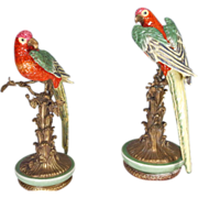 Pair Porcelain Parrots Bronze Mounts