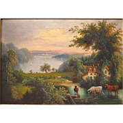 Hudson River School Painting Antique Oil