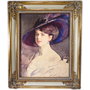 Beautiful Woman in Purple Hat Watercolor Signed