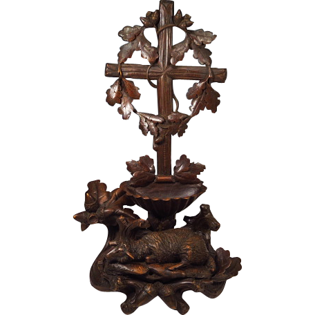 Rare Antique Black Forest Holy Water Font Hand Carved Lamb