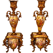 Antique Pair Austrian Enamel Bronze Candlesticks