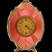 Antique Swiss Sterling Guilloche Traveling Strut Clock Original Case