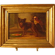 19th Century Dog Oil Painting Signed Monogram