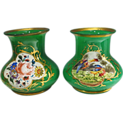 Pair French Green Opaline Vases Handpainted