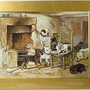 Alfred V. Poncy Pack of Dogs Gouache