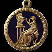 Reserved for S.   Antique French Bronze Enamel Medallion Medal