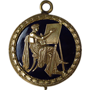 Reserved for S.   Antique French Bronze Enamel Medallion Medal