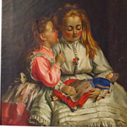 19th Century English Oil Young Girls with Doll