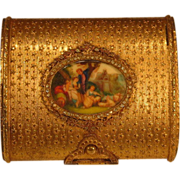 French Jeweled Gilt Brass Compact Miniature Painting