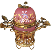Antique French Pink Opaline Egg Casket in Ormolu Basket