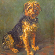 Antique YorkshireTerrier Dog Oil Portrait