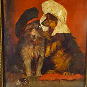 Two Terriers with Hats Oil on Panel