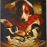 On Hold   Large 19th Century Oil Painting Foxhound Dog and Puppies