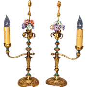 Pair French Style Lamps Large Porcelain Flowers Ormolu
