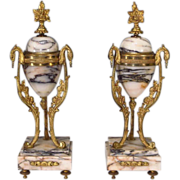 Pair French Marble Ormolu Garniture