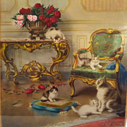 Antique Cat Kitten Print Jules Leroy