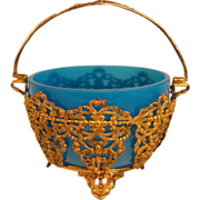Antique French Blue Opaline Glass Bowl in Ormolu Basket
