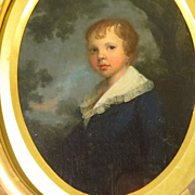19th Century American Portrait Young Boy in Carved Gold Leaf Frame
