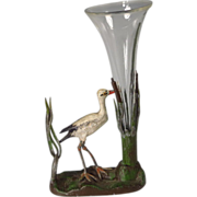 Miniature cold Painted Bronze Heron in Bullrushes Bud Vase