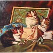 Kittens in Sewing Basket Jan Van Doorn