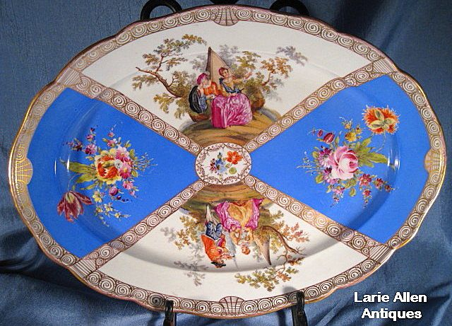 "Large French Blue Meissen Platter 16.25"""