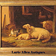 Alfred Jacques Verwee Oil Sheep in Stall