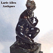 Crouching Venus Patinated Bronze Sculpture