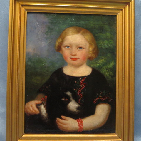 Girl with Dog Oil Painting Mid 19th Century