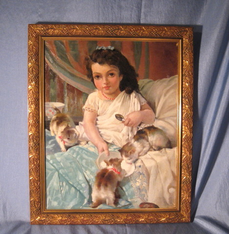 Beautiful Young Girl with Kittens French Oil on Canvas