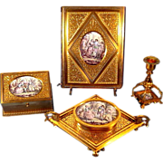 Museum Quality 4 Piece Gilded Bronze Enamel Miniatures Desk Set