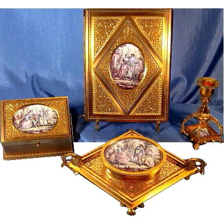 Museum Quality 4 Piece Gilded Bronze Enamel Miniatures Desk Set