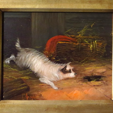 "Terrier dog oil painting ""terrier ratting"""