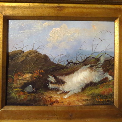 Terrier dog oil painting dog hunting