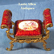 Antique miniature doll French enamel bronze Louis XV style arm chair