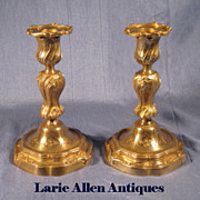 Pair 19th Century French Bronze Rococo Candlesticks