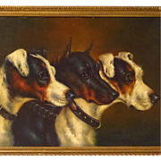 19th Century Three Terriers Oil Painting
