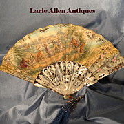 Antique Eventail Fan Handcoloured Lithograph
