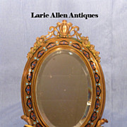 Antique French bronze champleve standing mirror or frame