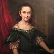Life Size Oil Portrait Young Girl 19th Century American