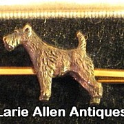 9ct Gold Terrier Dog Bar Pin Brooch