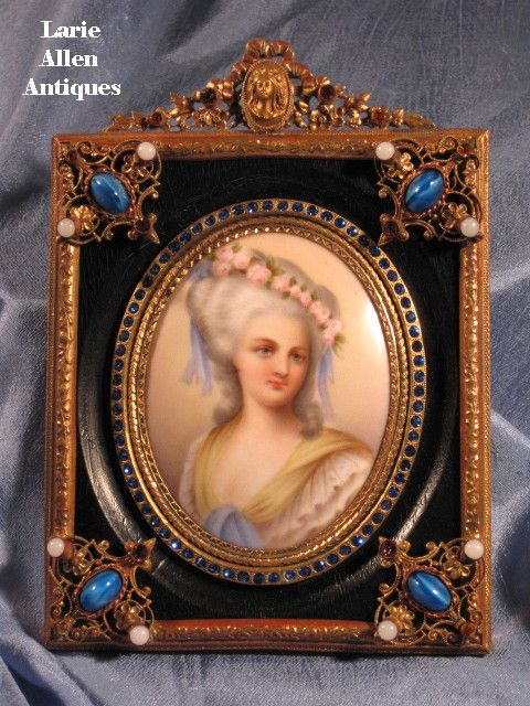 Fabulous jeweled frame with porcelain plaque miniature signed