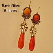 Antique Victorian Coral 14K Day Night Dangle Earrings