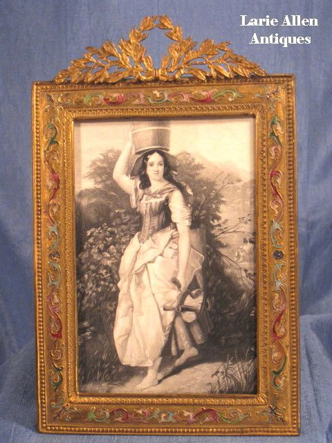 Art Nouveau French Bronze Champleve Enamel Picture Frame