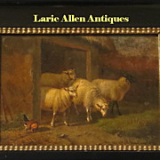 Antique Sheep Painting Oil on Panel